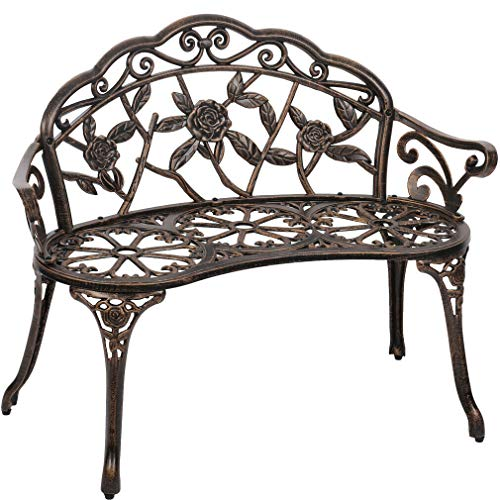 Heavens Tvcz Garden Bench Cast Aluminum Rose Lightweight Antique Chair Attractive Look Bronze Design Finish Style Porch Seat Furniture Park Yard Patio