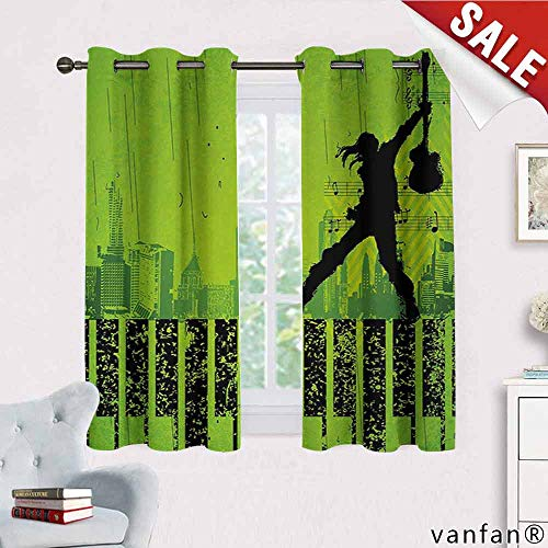 Popstar Party, Curtain,Music in The City Theme Singer with Electric Guitar on Grunge Backdrop, Curtains to Keep Out Heat, W63 x L72 Lime Green Black ()