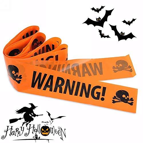 Sala-Houseware - Halloween Props Window Prop Warning line Plastic Skull Head Warning Tape Signs Halloween Decoration Warning Caution -