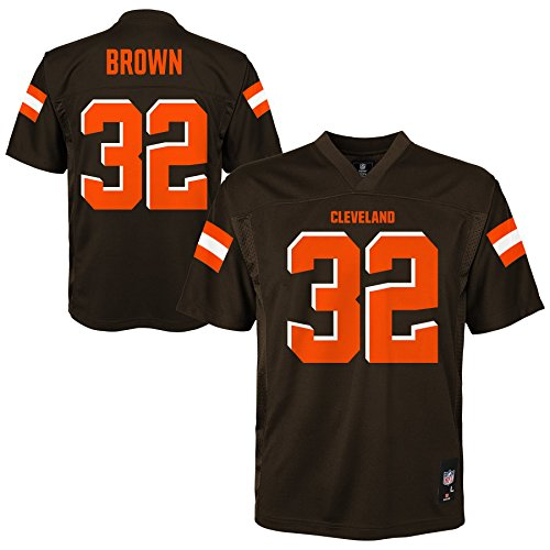 10 Cleveland Browns Jersey - NFL Cleveland Browns Jim Brown Youth Boys Player Jersey, Medium/(10-12), Brown Suede