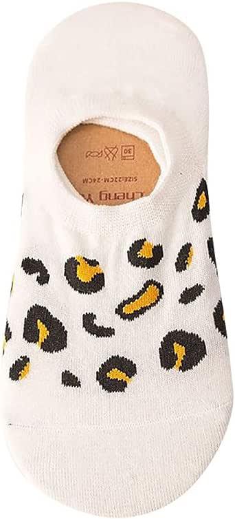 RISTHY Calcetines Invisibles Mujer Algodón Estampado Leopardo Antideslizante Calcetines Cortos Elásticos Suaves Color Sólido Calcetines Respirable Calcetines Tobilleros Verano: Amazon.es: Ropa y accesorios