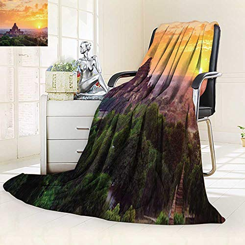 Queen Mandalay (YOYI-HOME Super Soft Duplex Printed Blanket The Temples of Bagan Pagan Mandalay Anti-Static,2 Ply Thick,Hypoallergenic/79 W by 59