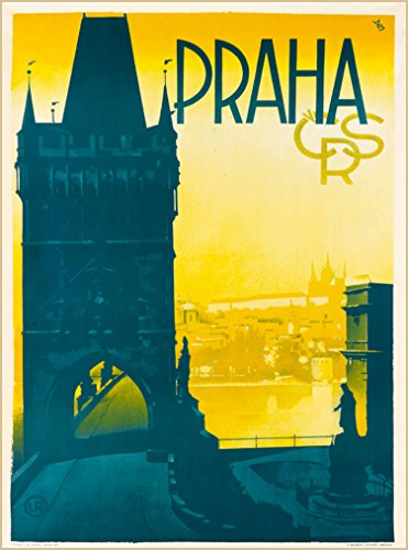 A SLICE IN TIME Praha Prague City CRS Czech Republic Vintage Travel Advertisement Art Home Collectible Wall Decor Poster Print. 10 x 13.5 inches