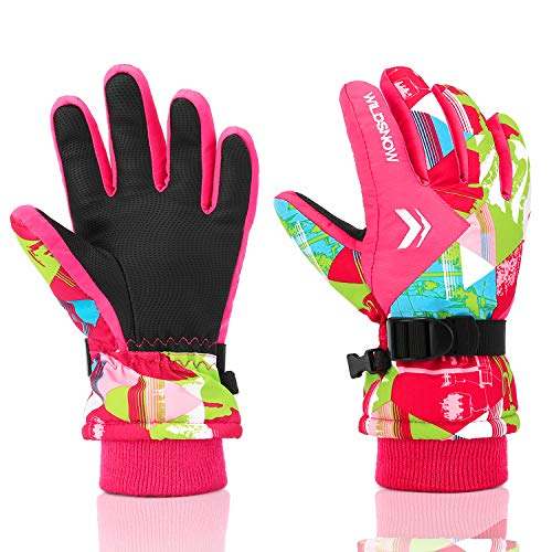 (Ski Gloves, RunRRIn 100% Waterproof Winter Warm Snow Gloves for Mens, Womens, Ladies, Boys, Girls and Kids Skiing, Snowboarding(Rose Red-M))