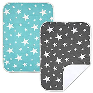 PEKITAS 2 Pack Waterproof Diaper Changing Pads Foldable Travel Friendly Soft Fabric 19.5 X 27.5 inches (Medium,0-1 Year),Stars Series