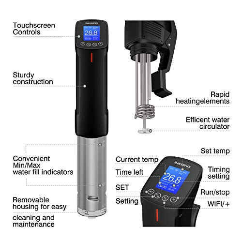 Inkbird WiFi Sous Vide Cooker Culinary Cooker, 1000 Watts, Recipe, Precise Temperature and Timer, Stainless Steel Thermal Immersion Circulator for Kitchen by Inkbird (Image #2)