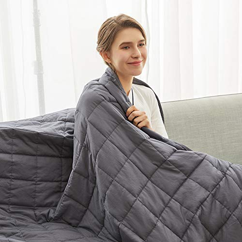 Weighted Idea Cooling Weighted Blanket 15 lbs Adults | 60''x80'' | Cotton | Grey | Gift for Loved One