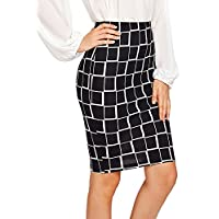 Floerns Women's Plaid Print High Waist Knee Length Bodycon Pencil Skirt