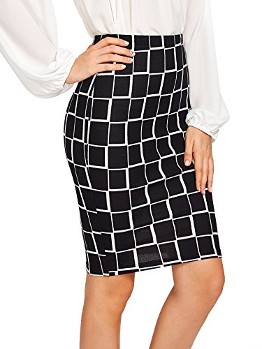 Floerns Women's Plaid Print High Waist Knee Length Bodycon Pencil Skirt Black M (Skirt Pencil Length Knee Waist)