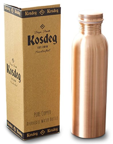 Kosdeg Copper Water Bottle 34 Oz Extra Large - A Leak Proof Ayurvedic Pure Copper Vessel - Drink More Water, Lower Your Sugar Intake And Enjoy The Health Benefits Immediately