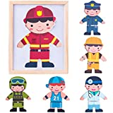 iPlay, iLearn Magnetic Puzzle Wooden Dolls Toys Deals, Matching Game Dress-Up Jigsaw, Fireman Dress Doll, Smart Wood Dressup Magnets, Learning Gift for Ages 2, 3, 4 Year Olds Kids, Boys, Girls