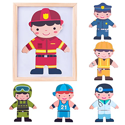 iPlay, iLearn Magnetic Puzzle Wooden Dolls Toys, Matching Game Dress-Up Jigsaw, Fireman Dress Doll, Smart Wood Dressup Magnets, Learning Gift for Ages 2, 3, 4 Year Olds Kids, Boys, Girls