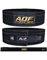 AQF Läder tyngdlyftningsbälte styrkehöjande bälte ryggstöd – 10 cm bred x 10 mm tjock spak spänne kohud läder träningsbälte mocka foder