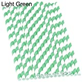 Dds5391 New 25 Pcs Biodegradable Food Grade Paper Striped Drinking Straws for Party Wedding - Light Green