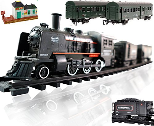 Railway King Electric Steam Locomotive Classical Passenger Train Playset With Lights And Train Sound
