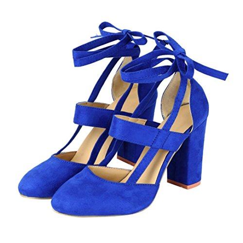Sandali Con I Tacchi Alti Per Le Donne, Le Scarpe Per Le Ragazze Con La Punta Tinta Unita Color Blu Scuro