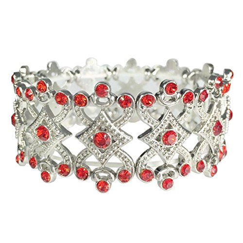 Open FIligree Designer look Rhinestone Stretch Formal Prom Bracelet (Red) (Charm Hat Red Bracelet)