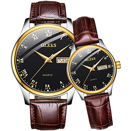 (Couples Watches for Him and Her Set Gifts Waterproof Leather Quartz Male Ladies Pair of Watches for Men and Women Classic Luminous Calendar Week Female Wrist Watch Business Casual Lovers Watch Set)