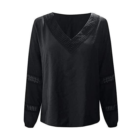 Linkay - Camisa de Manga Larga para Mujer, Cuello en V, Informal ...