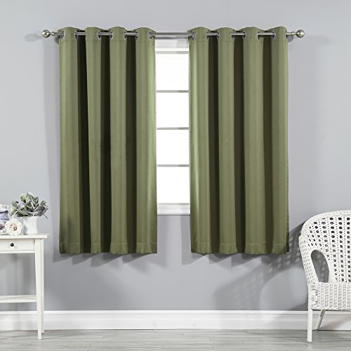 Brown Gold Olive (Best Home Fashion Thermal Insulated Blackout Curtains - Stainless Steel Nickel Grommet Top - Olive - 52