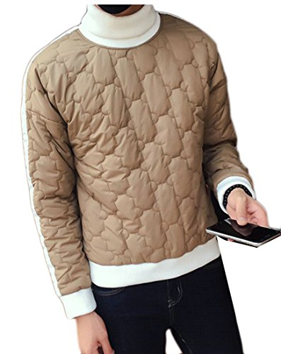 today-UK Men Winter Warm Turtleneck Long Sleeve Pullover Puffer Down Jacket Khaki