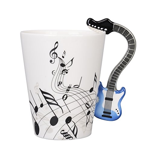 JHUA Ceramic Music Notes Coffee Mug Tea Cup, Blue Electric Guitar