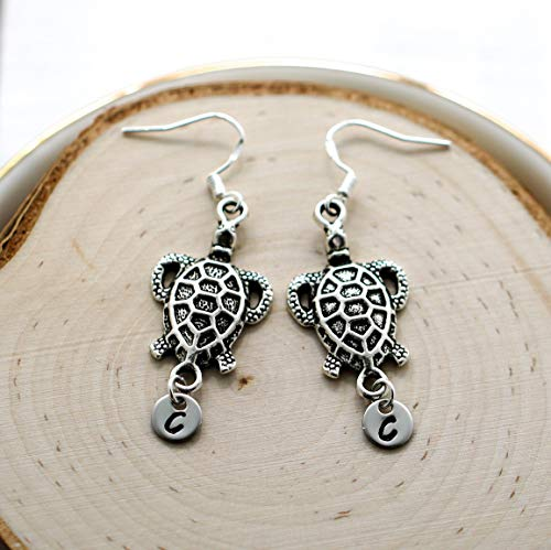 Sea Turtle Earrings Sterling Silver Hooks - Personalized Initial - Turtle Jewelry for Turtle Lovers - Fast ()