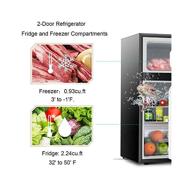 Antarctic Star Compact Mini Refrigerator Separate Freezer, Small Fridge Double 2-Door Adjustable Removable Retro… 5
