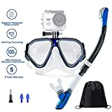 Ufanore Snorkel Set, Dry Top Snorkel, Panoramic Wide View, Free Breathing Anti-Leak&Anti-Fog, Scuba Diving Mask for Adults&Youth