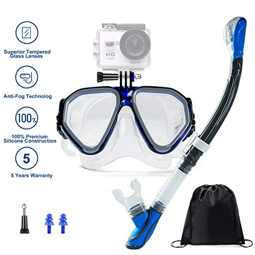 Ufanore Snorkel Set Dry Top Snorkeling Gear for Adults Snorkeling Package Set for Men and Women, Panoramic Wide View, Anti-Fog Tempered Glass, Snorkel with Silicon Mouth Piece