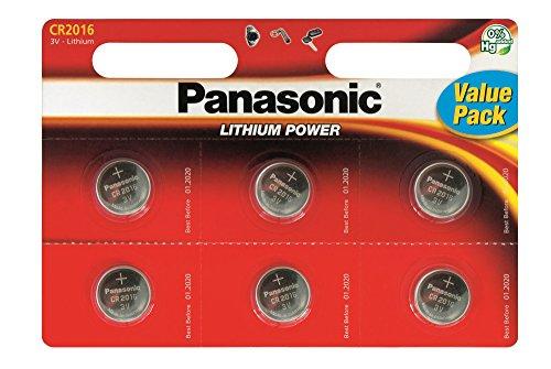 6 X Panasonic Cr2016 3V Lithium Batteries