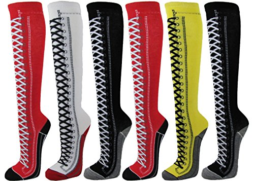 Couver Premium Quality Cotton Knee High Referee Socks 6 Assorted Pack (Medium, Lace-Up Boots)]()