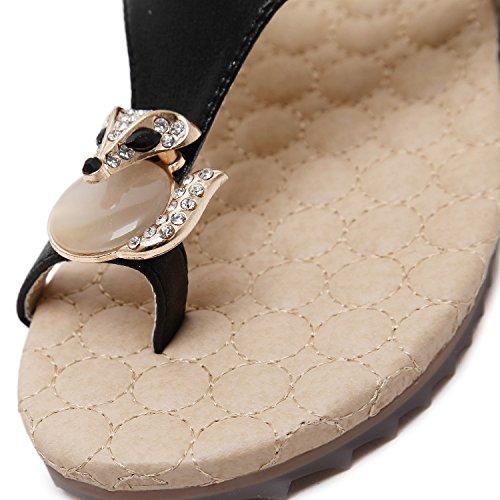 Casual Pantalons Mode Perles Femmes XIAOQI Femmes Sandales Pieds Chaussures Pantoufles De Noir Sandales Plat Sandales D'été Strass Sandales Toe Pantoufles Femmes Chuck xHB8X