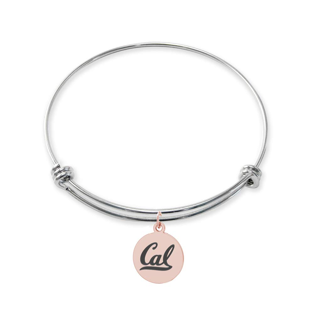 California Berkeley Golden Bears Stainless Steel Adjustable Bangle Bracelet with Rose Gold Plated Round Charm