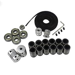 BALITENSEN 3D Printer Movement Kit for Reprap Prusa I3-GT2 Timing Belt + 20T Timing Pulley + 608zz Bearing + LM8UU Linear Bearing + 624zz Bearing + Motor Shaft Flexible Coupler by BALITENSEN