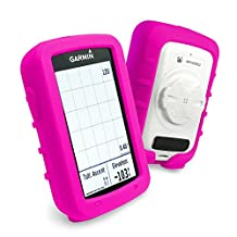 Tuff-Luv Silicone Gel Skin Case and Screen Cover for Garmin Edge Explore 820 - Pink