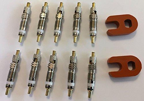 10 Presta Valveコア+ 2 presta valveコアRemovers。。。オレンジ。。。MTB自転車。。。