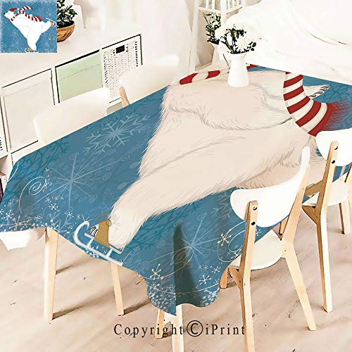 Premium Polyester Printed Tablecloth,with Christmas Hat and Scarf Ice, Idle for Grand Events and Regular Home Use, Machine Washable,W55 xL55,Blue Red White