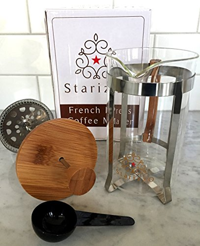 Starizzo French Press Coffee Maker For Home & Work, Travel, Camping, Tea, Cold Brew | Stylish Bamboo, BONUS Measuring Spoon, Compact Size 20oz | 600ml by Starizzo (Image #2)