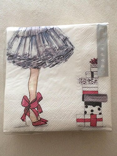 Shoes Beverage Napkin - Graphique Fashion Girl Holiday Birthday Christmas Cocktail Napkins 40 Count