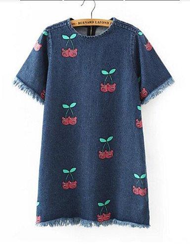 PU&PU Robe Aux femmes Ample Street Chic,Imprimé Col Arrondi Au dessus du genou Nylon , blue-s , blue-s