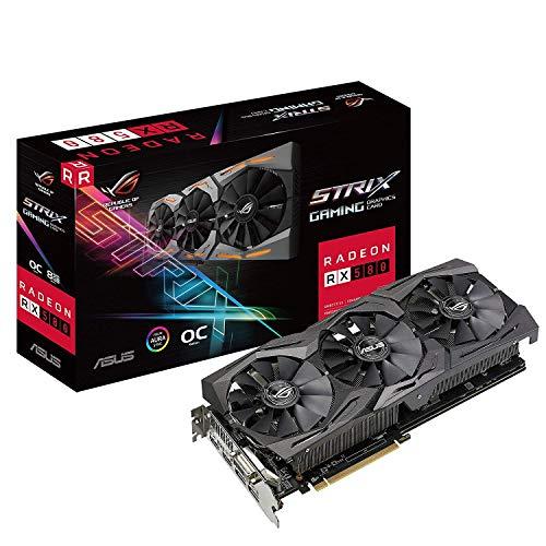 ASUS ROG-STRIX-RX580-O8G-GAMINGOC Edition GDDR5 DP HDMI DVI VR Ready AMD Graphics Card (Renewed)
