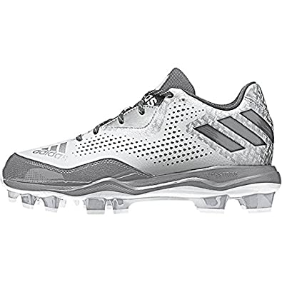 ad0a2612beb adidas PowerAlley 4 TPU Womens Softball Cleats 5 White Light Onix Silver Met