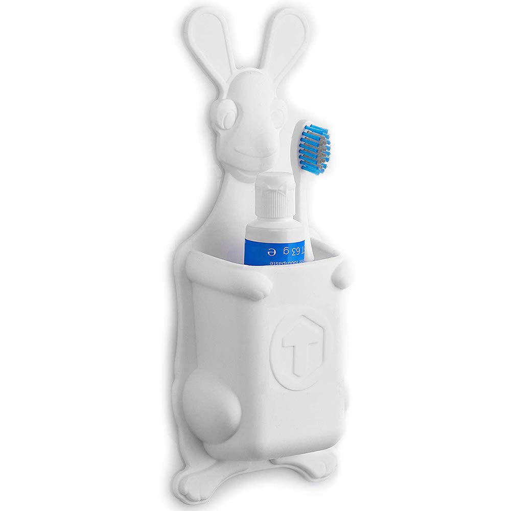 TTJP-WH animal silicone Toothbrush Holder white Tooletries for kids Joey Pouch