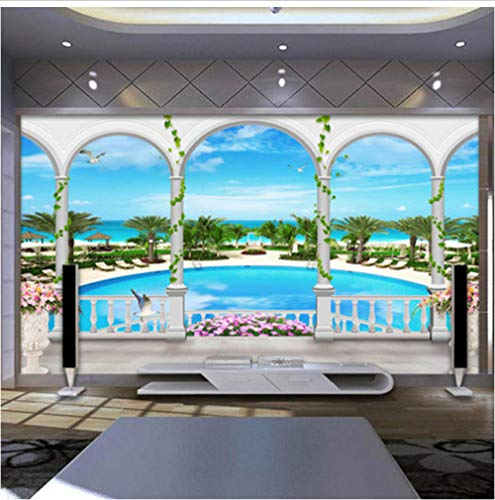 Wall Mural,Non-Woven Premium Wallpaper, Wall Decoration, Multicolor 30D Art Print Poster Decorative Mural Three-Dimensional Beachfront Swimming Pool (Paint For Swimming Pool Walls And Ceilings)