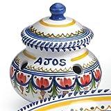 El Puente del Arzobispo Hand Painted Ceramic Garlic Storage Jar (6 inches wide x 5 inches tall )