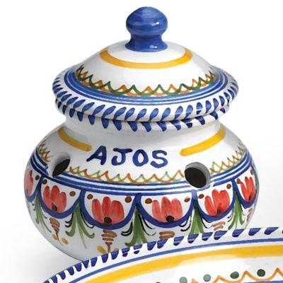El Puente del Arzobispo Hand Painted Ceramic Garlic Storage Jar (6 inches wide x 5 inches tall ) by El Puente del Arzobispo