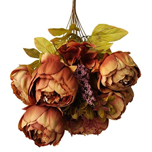 SUJING Fake Flowers Artificial Peony Head For Wedding Decoration DIY Decorative Flower (coffee) from SUJING