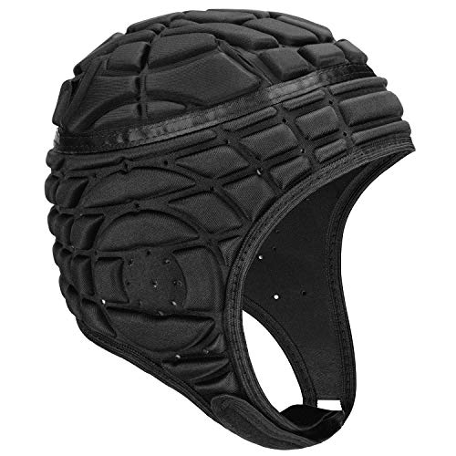 (Soccer Goalie Helmet, Soft Padded Headgear Protection for Flag Football, Team Sports, Training, Rugby, Lacrosse, Soccer, Goalkeeper, Practice & Epilepsy Head Protection Fits Youth & Adult (Black, L))