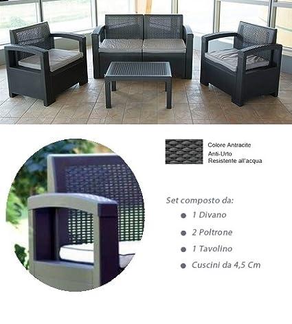 GrecoShop - Conjunto de sofá con 2 sillones y mesa baja ...